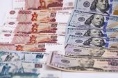 New banknote hundred dollars and russian rubles