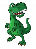 pic of enormous  - Green cartoon dinosaur with a mouth full of sharp teeth standing upright isolated on white - JPG