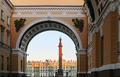 image of winter palace  - Winter Palace view through Senate Arch at dawn St Petersburg Russia - JPG