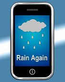 Rain Again On Phone Shows Wet  Miserable Weather