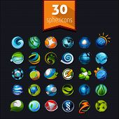 Set of spherical icons