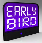 Early Bird Clock Shows Punctuality Or Ahead Of Schedule