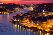hill with old town of Porto at sunset close up Portugal
