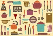 picture of saucepan  - Seamless background with kitchen ware in retrostyle - JPG