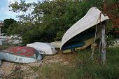 Dinghies stored on dry land