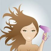 Girl blow drying hair