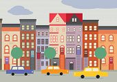 stock photo of brownstone  - A cartoon style street scene of a Brooklyn Street - JPG