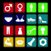 Toilet Sign Flat Icon Set