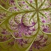 Beautiful Fractal Flower In Vinous And Green. Computer Generated