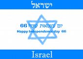stock photo of israeli flag  - Israeli flag for 66th Independence Day with the word israel written in english and hebrew - JPG