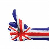 Hand With Thumb Up, Uk (united Kingdom) Flag Painted As Symbol Of Excellence, Achievement, Good - Is
