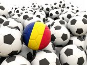 image of chad  - Football with flag of Chad in front of regular balls - JPG