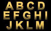 Gold Alphabet Letters A- M