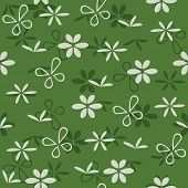vector seamless green pattern with flowers