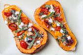 Butternut Squash with Rice, Mushrooms, Tomatoes & Goat's Cheese