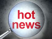 News concept: Hot News with optical glass