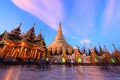stock photo of yangon  - Sunrise at Shwedagon pagoda Yangon in Myanmar - JPG