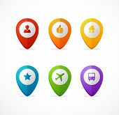 Vector flat map pointer set. Icon pin.