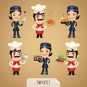 stock photo of chef cap  - Chefs Cartoon Characters Set1 - JPG