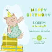 Baby Bear Birthday Card - invitation, congratulation -  in vector