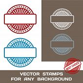 Blank Rubber Stamp Set. Template. For Any Background. Vector Ill