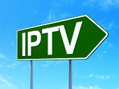 Web design concept: IPTV on road sign background