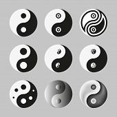 Yin Yang, Symbol Of Balance And Harmony. Set. Vector Illustratio