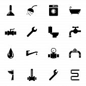 stock photo of plunger  - Vector black  plumbing  icons set on white background - JPG