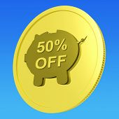 Fifty Percent Off Coin Shows 50 Half-price Deal