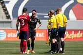CARSON, CA - APRIL 6: Los Angeles Galaxy F Robbie Keane (7) & Chivas USA D Carlos Bocanegra (3) during the MLS game between the Los Angeles Galaxy & Chivas USA on April 6th 2014 at the StubHub Center.