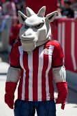 CARSON, CA - APRIL 6: The Chivas mascot during the MLS game between the Los Angeles Galaxy & Chivas USA on April 6th 2014 at the StubHub Center in Carson, Ca.