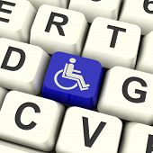 Disabled Key Shows Wheelchair Access Or Handicapped