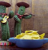 Happy Cinco De Mayo, 5Th May, Party Celebration With Fun Mexican Cactus And Corn Chips Against Retro