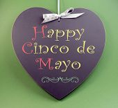 Happy Cinco De Mayo, 5Th May, Event Reminder Handwriting Greeting On Heart Shaped Blackboard With Sa