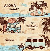 stock photo of tribal  - Vintage summer and travel banners for your business - JPG