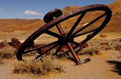 Iron wheel used in mining gold in Bodie, California