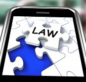 Law Smartphone Shows Legal Information And Legislation On Internet