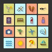 Vacation UI layout icons, squared shadows