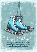 picture of skate  - Skate holidays winter invitation design template vector illustration - JPG