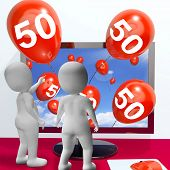 Number 50 Balloons From Monitor Show Online Invitation Or Celebration