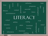 Literacy Word Cloud Concept On A Blackboard