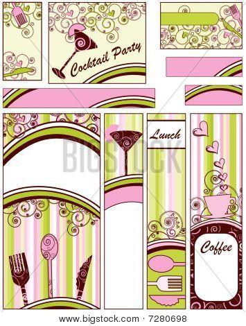 Постер, плакат: Продовольственная и напитки баннеры, холст на подрамнике