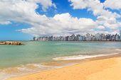 Beach Praia Da Costa, Sand, Sea, Blue Sky, Vila Velha, Espirito Santo, Brazil