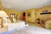 picture of master bedroom  - Master bedroom interior in soft ivory and creamy tones - JPG