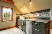 Dark Green Kitchen Cabinets With Back Splash Trim