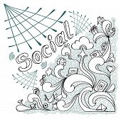 Social webs in doodle style on white background