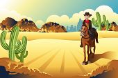 picture of desert animal  - A vector illustration of cowboy riding a horse in the desert - JPG