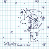 Cute sheep girl with umbrella .Winter doodle Sketchy notepaper