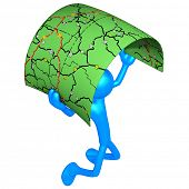 3D Character With Road Map