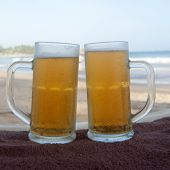 Chilled beer on a sunny day at the beach